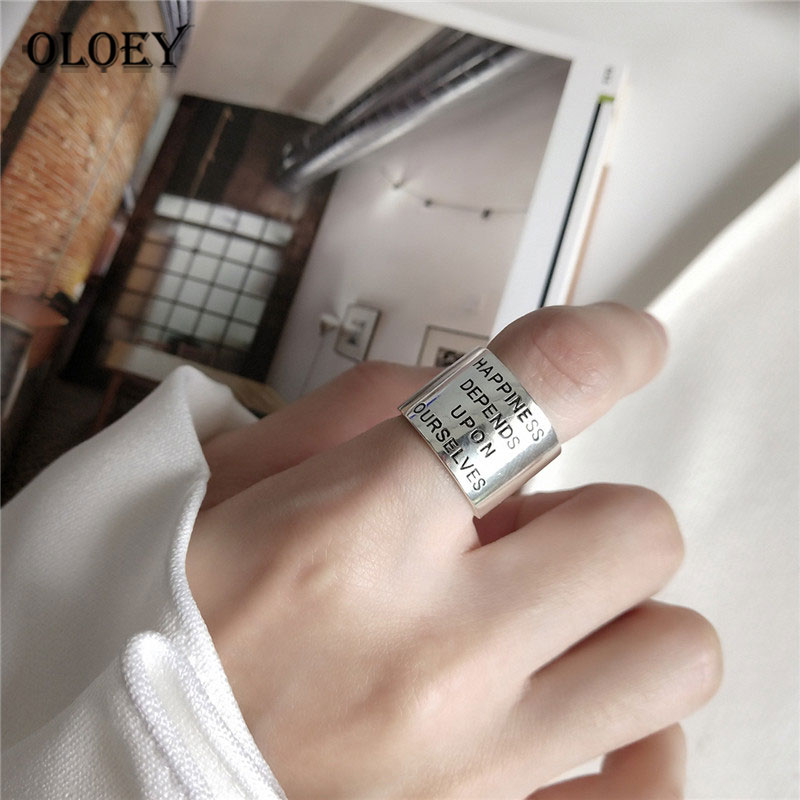 OLOEY Authentic 925 Sterling Silver Open Rings With Letter HAPPINESS DEPENDS UPON OURSELVES Vintage Do Old Wide Ring Gift YMR838