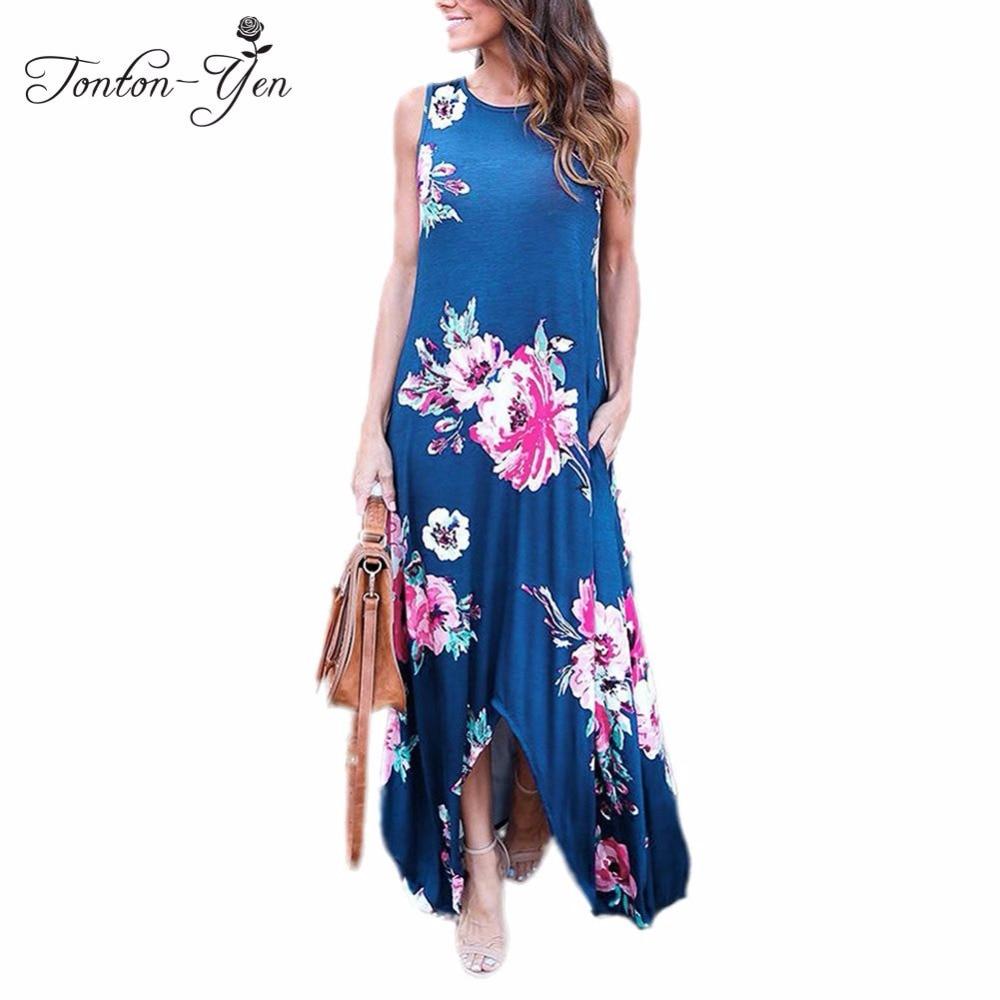 2018 Summer Women Dress Long Beach Dress Big Sizes Irregular Beach Clothing Femme Plus Size Long Dresses Summer Flower Sundress