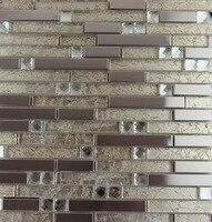 新しいスタイルステンレス鋼金属モザイクガラスのタイルキッチンbacksplashの浴室のシャワーの背景装飾壁ペーパー卸売