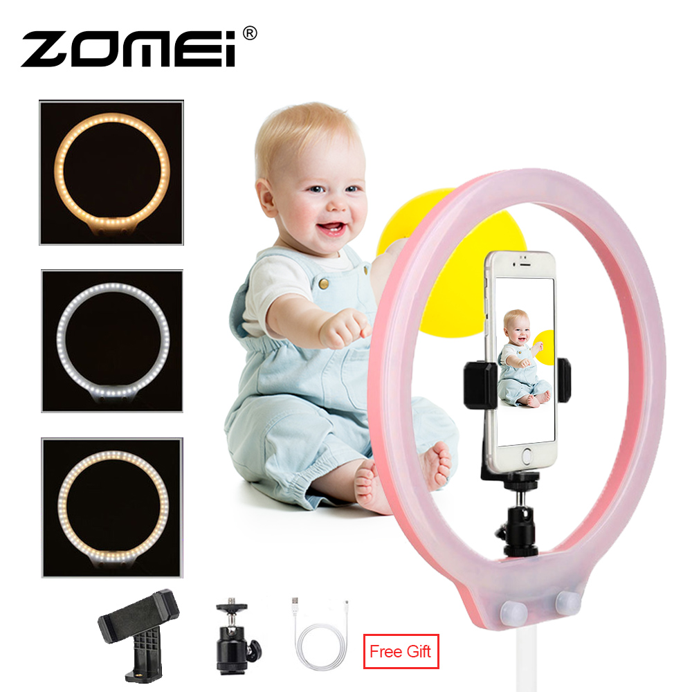 ZOMEI ZM128 Selfie Ring Light For Iphone Dimmable 128pcs Bi-color 3200-5500K Video Studio Lamp For IPhone XS Canon DSLR VS YN128