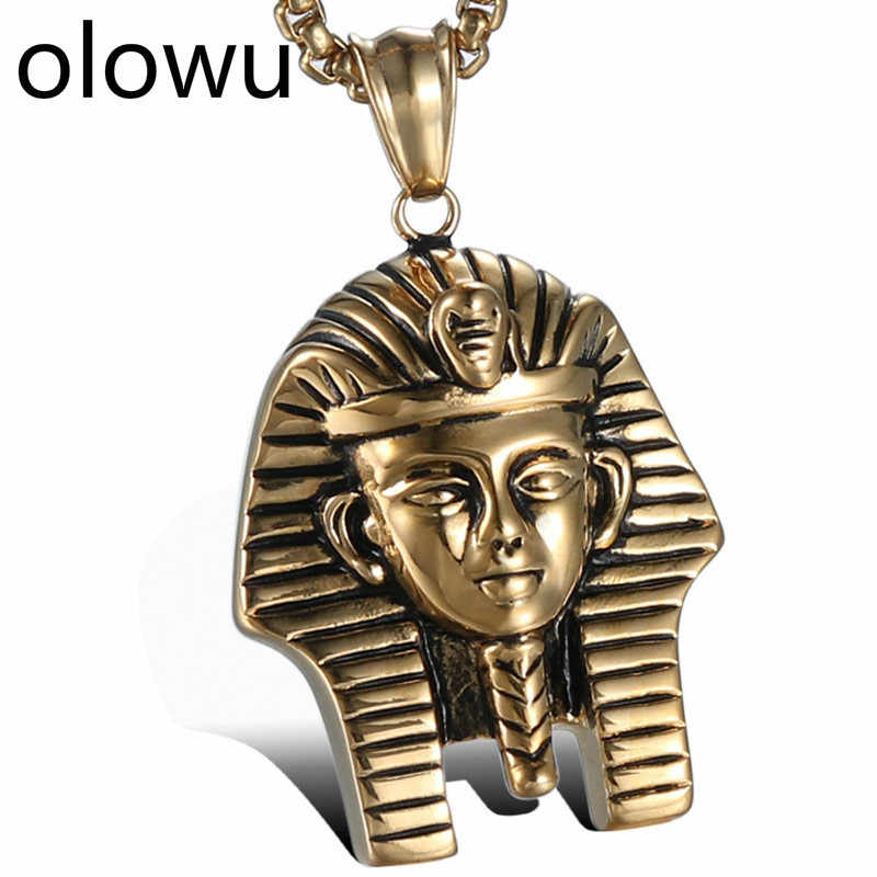 olowu Antique Gold Stainless Steel Necklaces Pendants Egypt Pharaoh Necklace For Men Women Classic Ancient Egyptian Jewelry