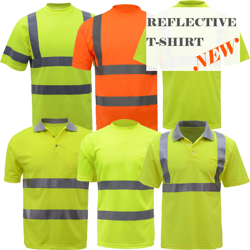 High visibility safety working <font><b>tshirt</b></font> breathable reflective clothes safety clothes safety polo shirt image