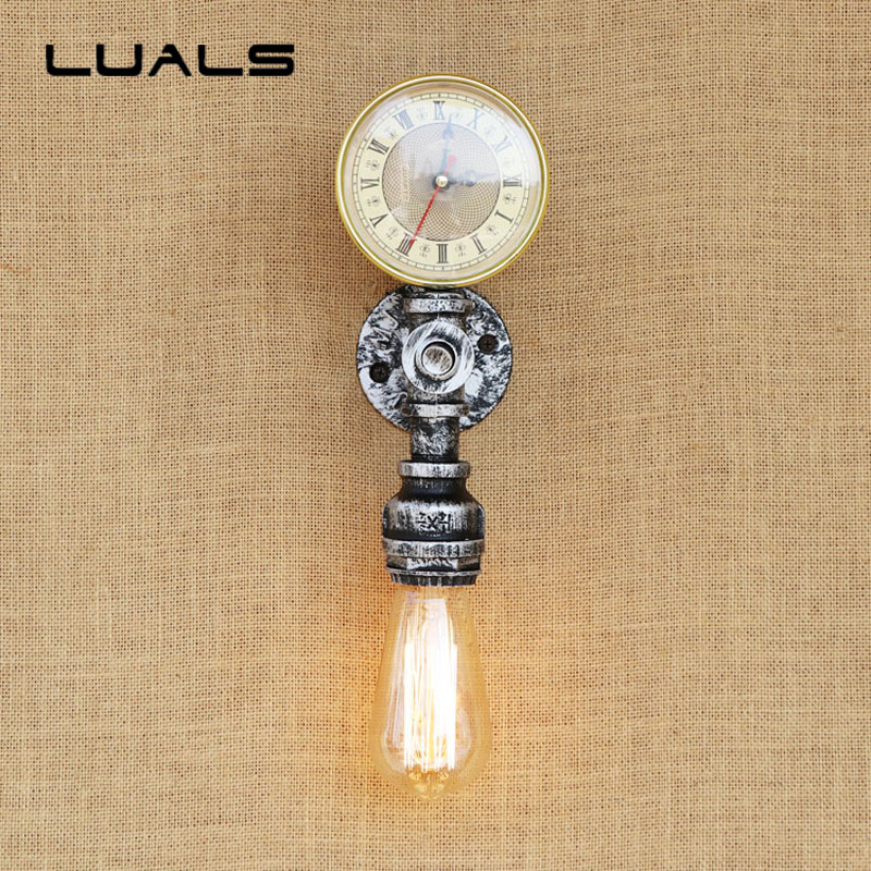 Loft Pipe Lamp Personality Retro Wall Light Cafe Bar LED Edison Lights Creative Pressure Gauge Industrial Art Deco Wall Lighting art deco mesa desk lamp loft industrial water pipes retro table lamp for cafe bar edison desk light creative indoor lighting