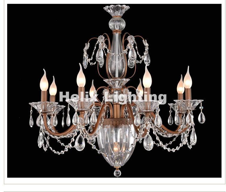 Free Shipping Crystal Chandelier Lingting Luxurious Metal Brass Color Crystal Lamp <font><b>Lustre</b></font> Suspension E14 <font><b>LED</b></font> Light AC Lighting