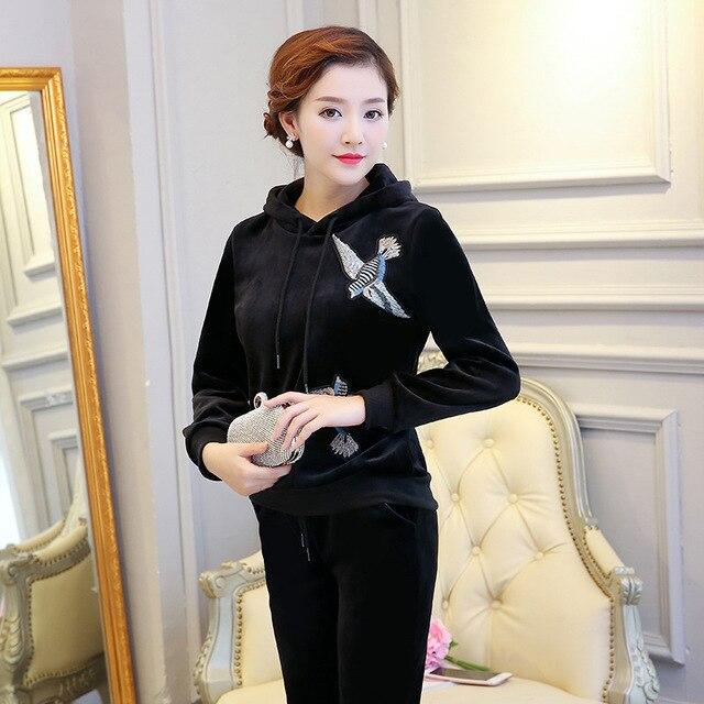 1172ca7618 Jesień Panie Złoty Velvet Dresy Welurowe Garnitur Dres Sportswear Kobiety  Dorywczo Hafty Bluzy + Spodnie Plus