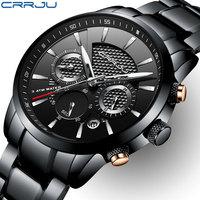 CRRJU Mens Watches Top Brand Luxury Full Steel Clock Sport Quartz Watch Men Casual Business Waterproof