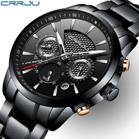 CRRJU Mens Watches Top Brand Luxury Full Steel Clock Sport Quartz Watch Men Casual Business Waterproof