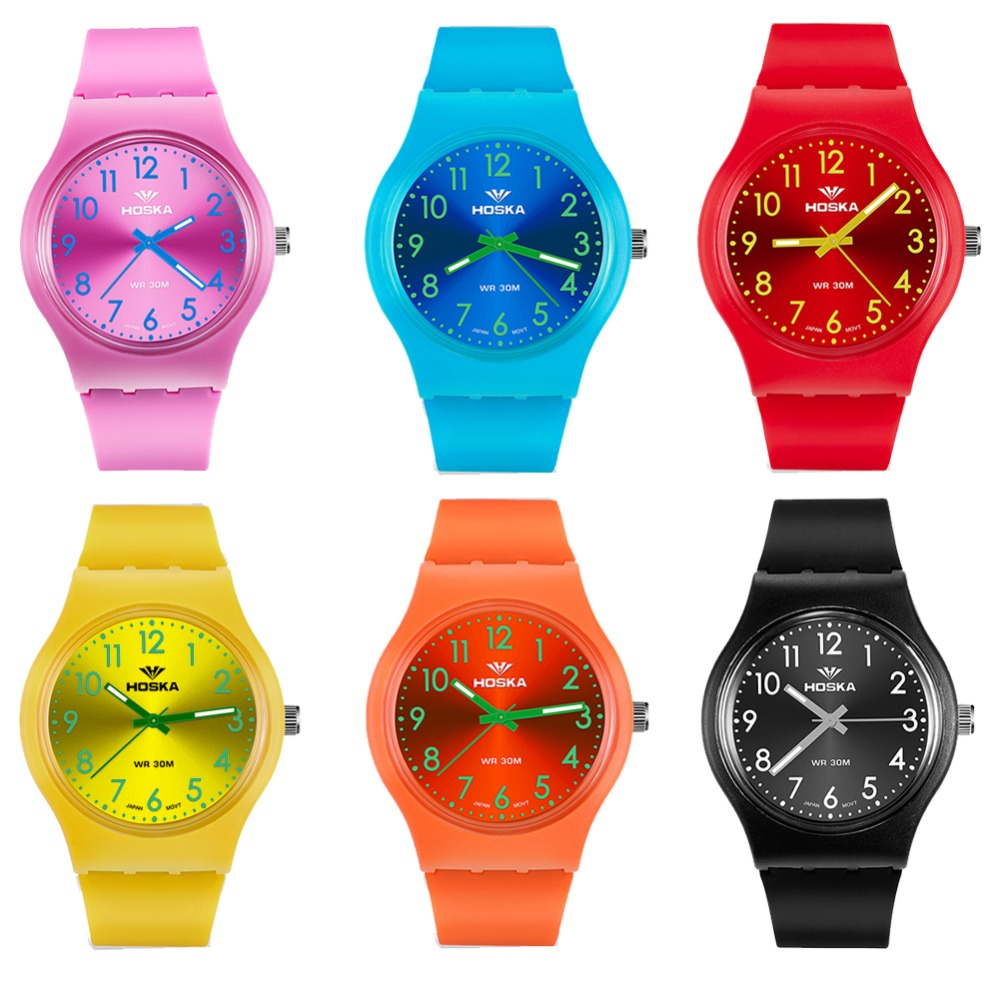 HOSKA Top brand cute student children quartz watch 30M waterproof Wristwatches boy and girl clock sports