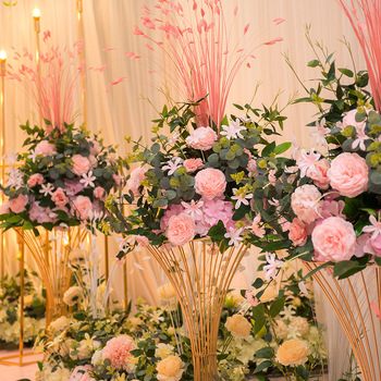 45cm Peacock leaf peony hydrangea artificial flower ball bouquet dedor wedding party backdrop road guide table centerpiece 1pc