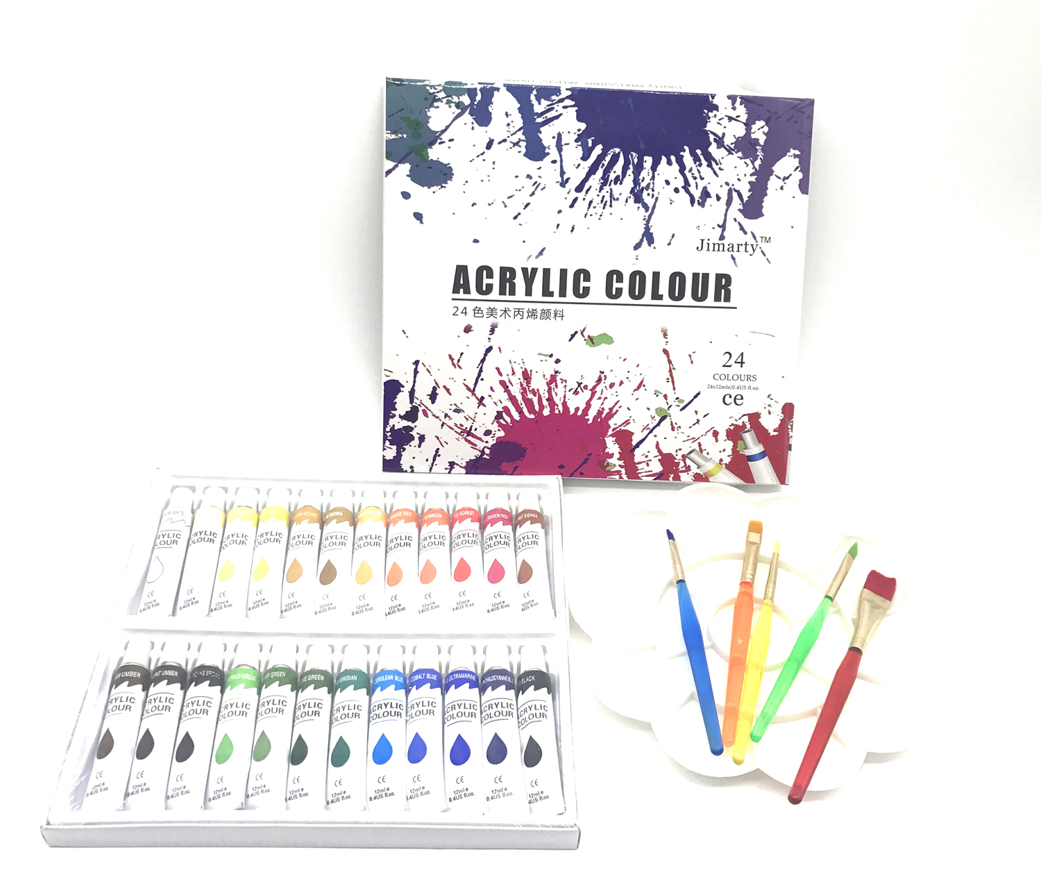 24Colors 12ML/Tube Acrylic Paint set color with 5paint brushes palette Art Painting paint fabric Drawing supplies цены
