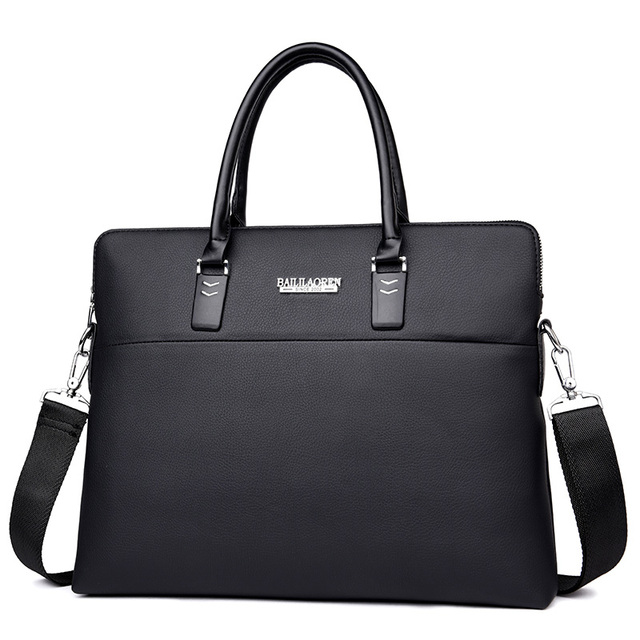 Mens Black Leather Office Bag Brown Man Briefcase Laptop Crossbody Work Notebook Computer Bags For Men