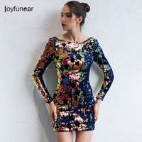 Joyfunear Sexy Backless Sequin Dress Women Elegant Floral Plaid Bodycon Dress Autumn Winter Party Short Vintage