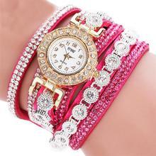 Women Quartz PU Leather Rhinestone Watch Bracelet Watches Hours
