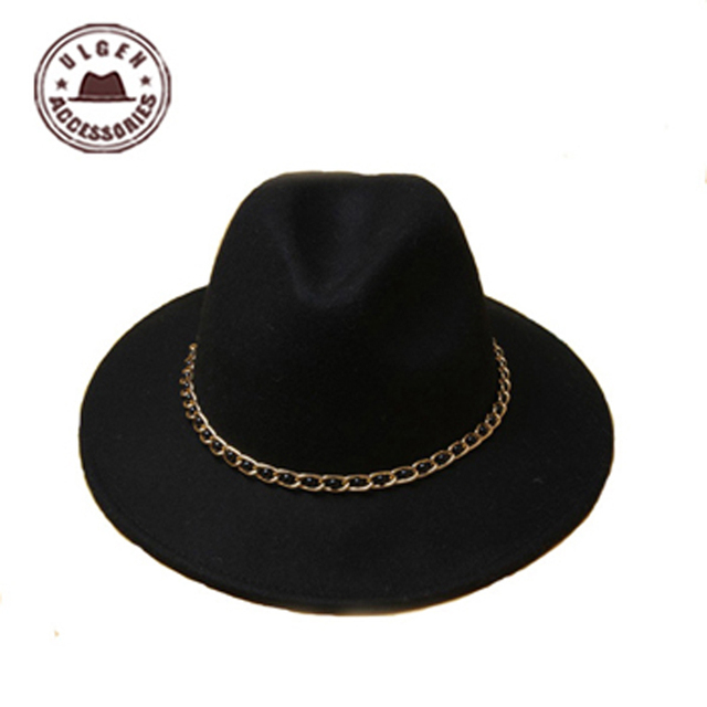 New dome Rolled Pure Wool Large Rims Side Winter women fedora hat Fashion Stetson Hats Fedora! [GEN-718]