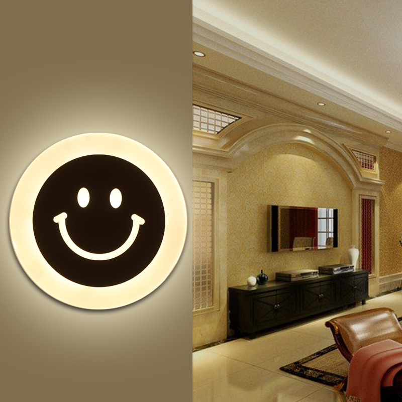 Creative LED Smile Face Wandlamp Simple Kids Cartoon Bed Room Light - Binnenverlichting - Foto 6