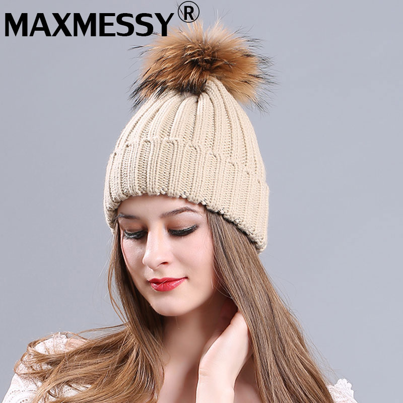 MAXMESSY Raccoon Fur Pom Poms Winter Hats High Quality Knitted Warm Casual Hat Female Skullies Beanies Cap Ball skullies beanies newborn cute winter kids baby hats knitted pom pom hat wool hemming hat drop shipping high quality s30