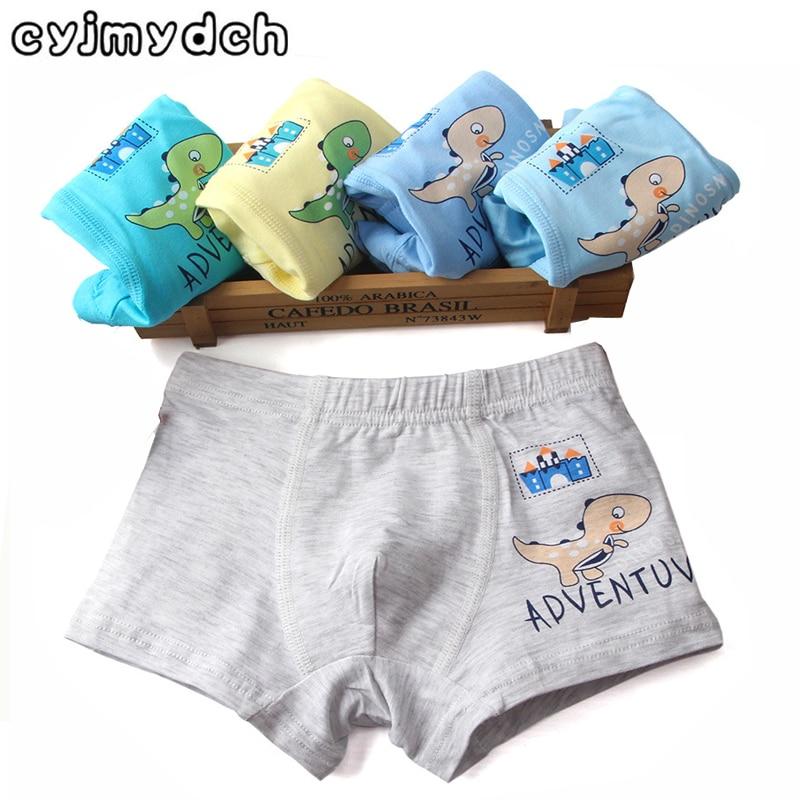 5pcs/lot Cartoon Dinosaur 95% Organic Cotton Children Underwear Kids Shorts Baby Boys Boxers Girls Panties Teenager Underpants