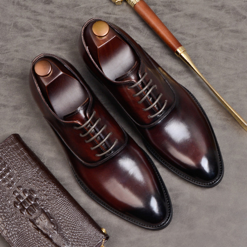 Summer Mens Formal Shoes Genuine Leather Oxford Shoes For Men Black 2019 Dress Shoes Wedding Shoes Laces Leather Brogues Zapatos