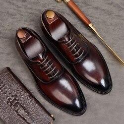 Été hommes chaussures formelles en cuir véritable oxford chaussures pour hommes noir 2020 chaussures habillées chaussures de mariage lacets en cuir brogues zapatos
