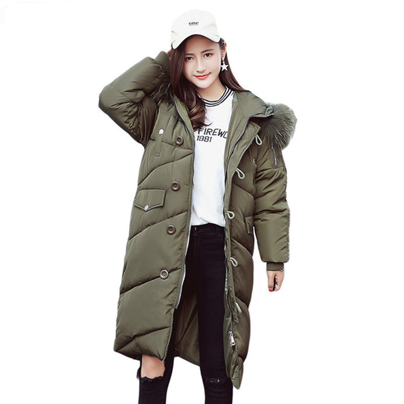 Womens Winter Jackets 2017 Brand New Parka With Fur Collar Long Coats Down Cotton Jacket Women Wadded Button Hooded Coat C3649