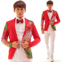 Multicolor Sequins Red Cotton Men Jacket Rock Punk Dj Ds Bar Nightclub Male Singer Stage Show Clothing Individuality Slim Coat
