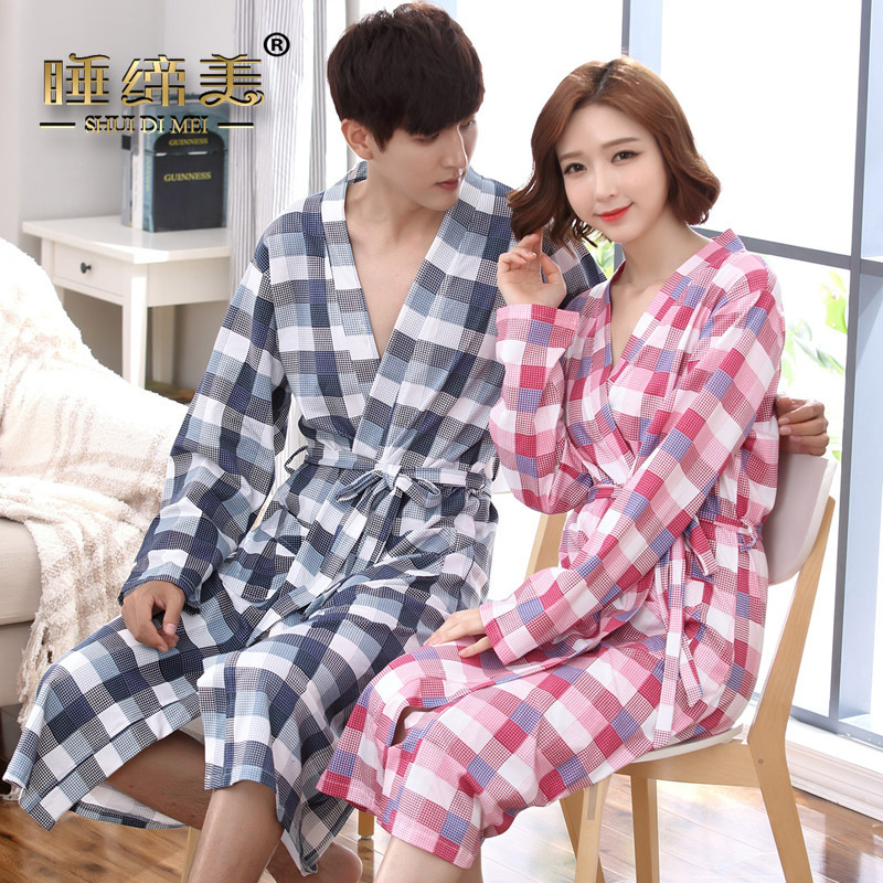 34bfd5d0fe Couple mens womens matching japanese kimono style bath robe cotton yukata  long dressing gown fall winter sleep lounge house coat-in Robes from  Underwear ...