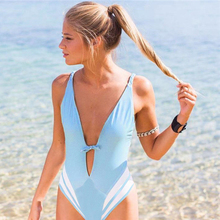 2018 New One Piece Swimsuit Women Sexy Deep V Swimwear Floral Monokini Striped Design Bath Suit Patchwork Beach Wear