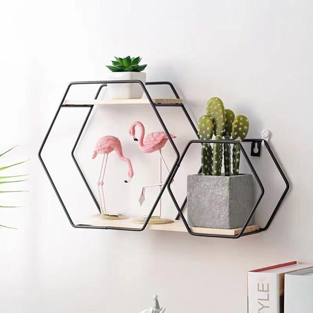 Geometric Storage Shelf Wall Home Decor Living Bedroom Rack Wall Hanging Shelf