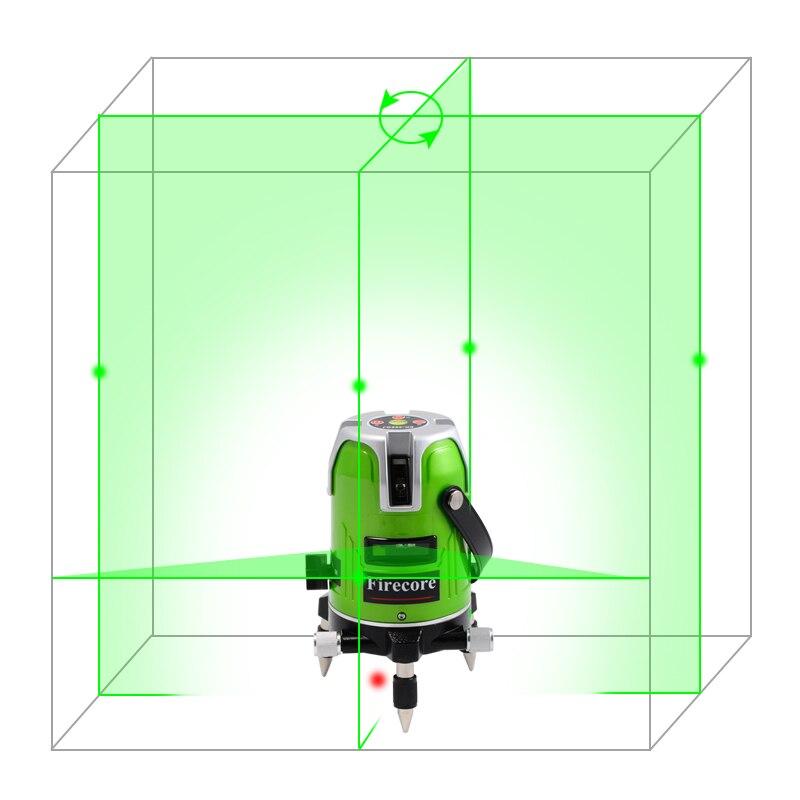 Firecore EK-468GJ 5 Line Green Laser Level 360 Degree Rotary Laser Line Measurement Diagnostic-Tool With Lithium Battery leran ek 9610k 39 green