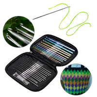 23pcs Set Needles Crochet Hooks Multi Color Stainless Steel Sewing Knitting Needles Tools With Case For