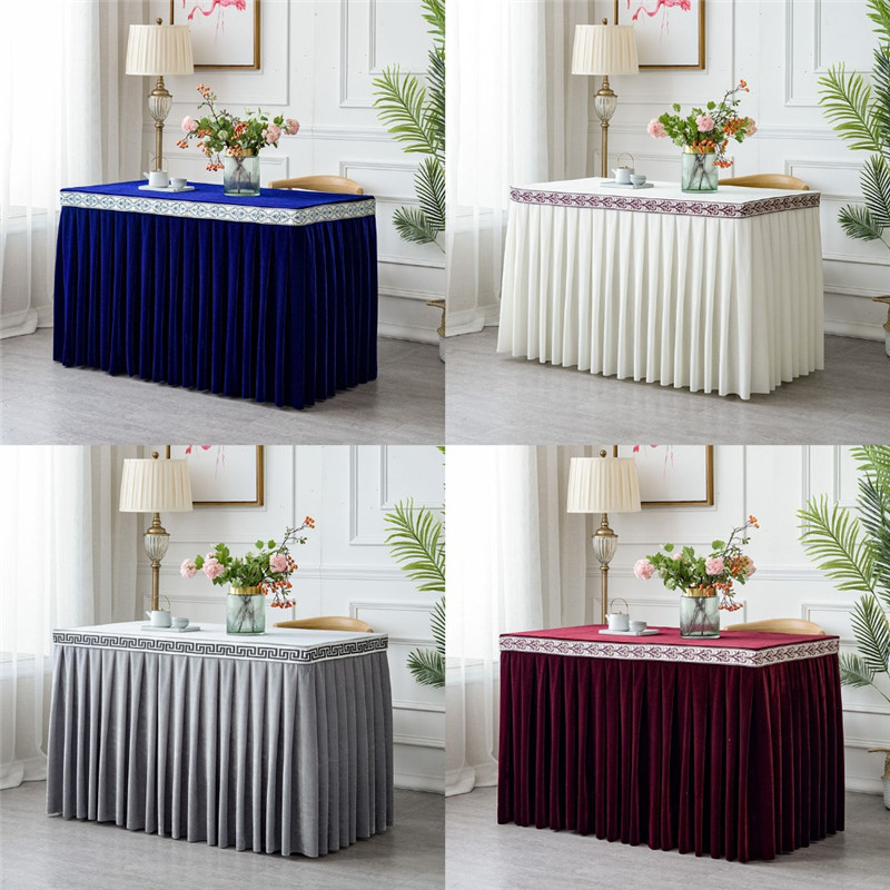 Pleated Flannel Wedding Table Skirt With Table Cloth Table Cover Table Skirting For Hotel Party Banquet Decor