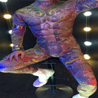 S29 Ballroom dance costumes Tattoo print men bodysuit dancer jumpsuit Coverall party clothe dj disco performance clothe dress