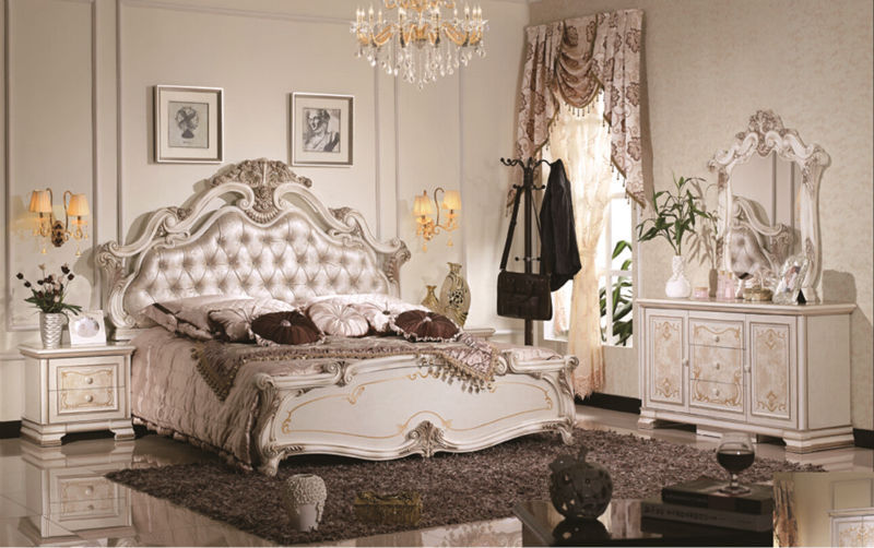 Luxury suite bedroom furniture of Europe type style including 1 bed 2  bedside table 1 chest a dresser and a makeup chairOnline Get Cheap Antique Bedroom Furniture Styles  Aliexpress com  . Antique Style Bedroom Chairs. Home Design Ideas