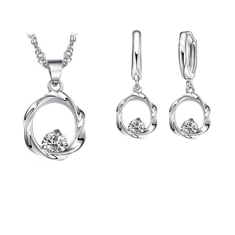 925 Sterling Silver Wedding Jewelry Sets Love Heart Hollow Pendants Necklaces Earrings Wedding