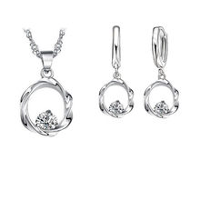 Giemi Top Quality Silver Color Wedding Jewelry Sets Romantic for Women Love Heart Hollow Pendants Necklaces Earrings For Wedding(China)