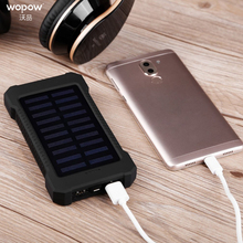 Wopow Solar power bank 20000mAh Portable charge Powerbank Waterproof Dual USB External Battery Bank for xiaomi Outdoor Emergency