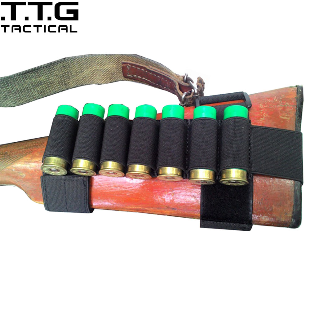 7 Round Military Shotgun Cartridge Stock Shell Holder Ammo Carrier Combat Pouch Strip 1000D Army Green Black Coyote Brown