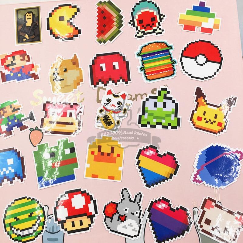 25pcs/set Pixel Doge Totoro Rainbow Watermelon Poke ball luggage pull rod box graffiti stickers tag creative toy suitcase paster