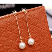 Fashion Boucle D'oreille Femme Pendante Cute Ear Wire Earrings Female Models Long Drop Pearl Jewelry Dangle Earrings Brincos(China)