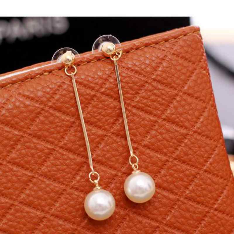 Fashion Boucle D'oreille Femme Pendante Cute Ear Wire Earrings Female Models Long Drop Pearl Jewelry Dangle Earrings Brincos
