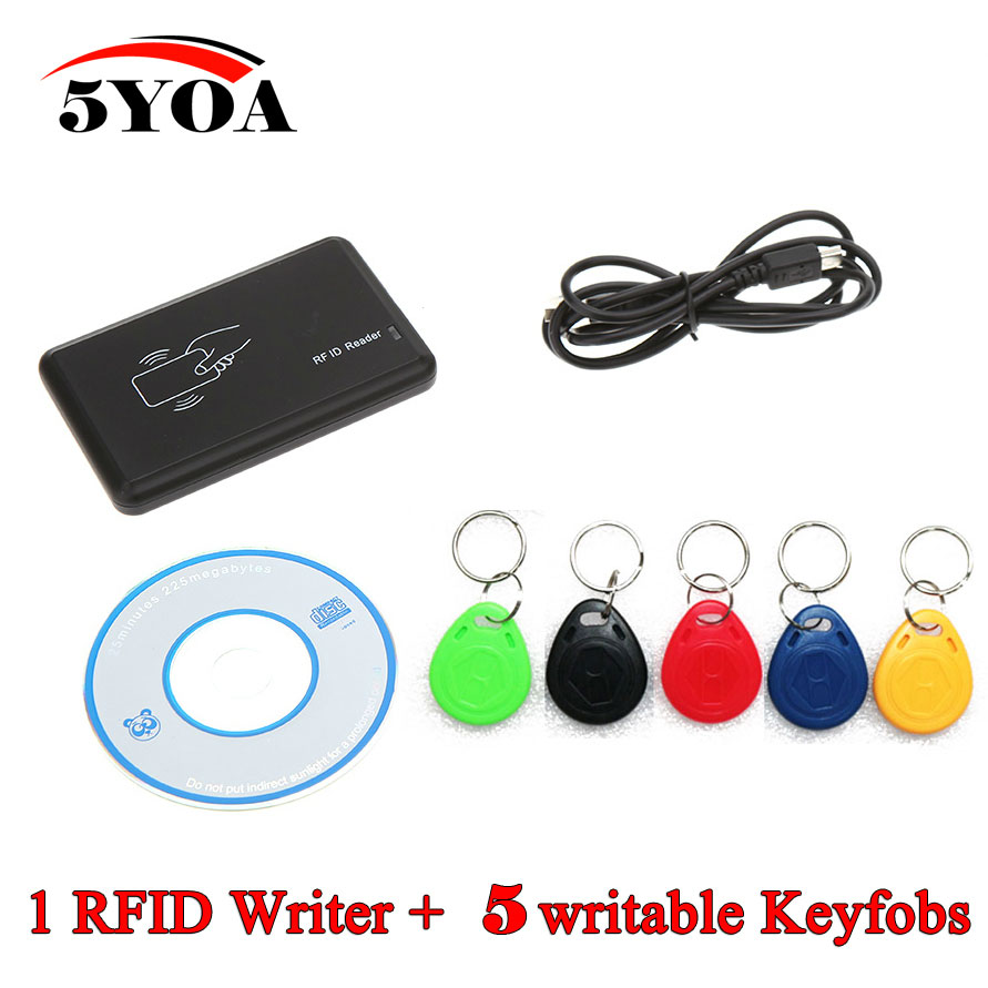 RFID Copier 125KHz EM4100 Cloner Writer Duplicator Programmer Reader + 5 Pcs EM4305 T5577 Rewritable ID Keyfobs Tags Card handheld 125khz rfid duplicator key copier reader writer id card cloner programmer 5 keys 5pcs rewritable cards em4305 t5577