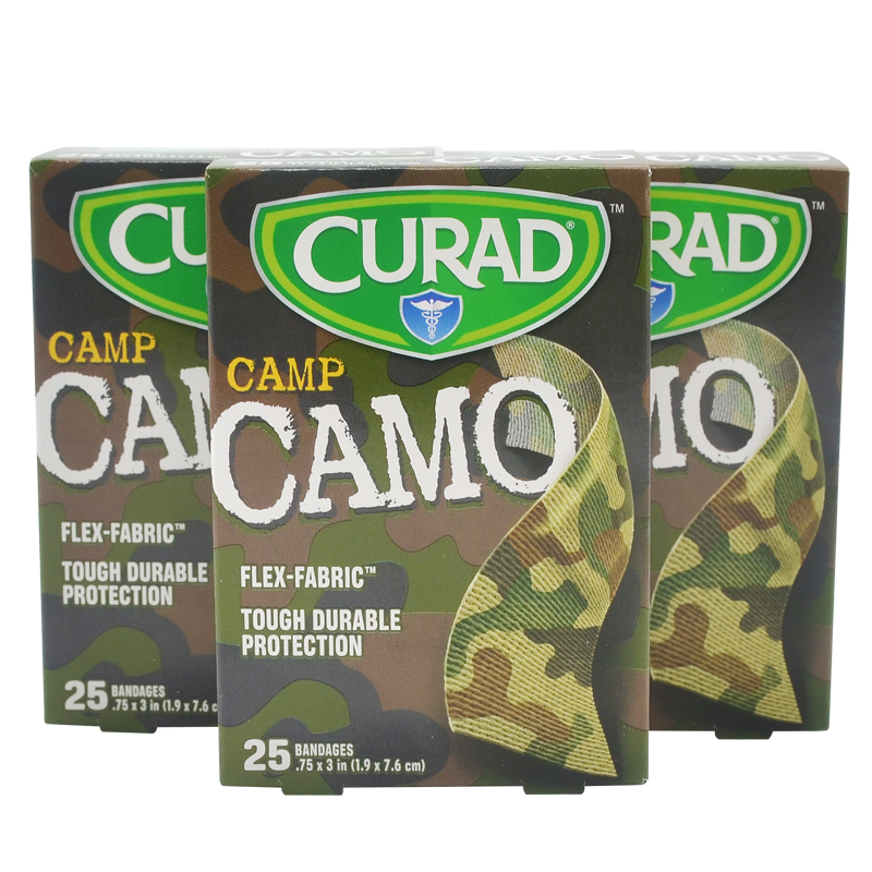 Free Shipping 75PCS/3BOXES Camo Camouflage Standard 1.9cmx7.6cm Adhesive Bandages Pads Hemostasis Band Aid First Aid free shipping 150pcs 3boxes 1 9cmx7 6cm camouflage adhesive bandages band aid first aid survival household