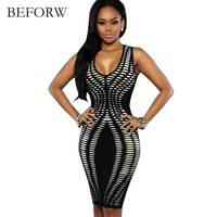 BEFORW Sexy Women Dress Summer Sexy Dress Office Printing Sleeveless Dresses Sexy Slim Tight Nightclub Party