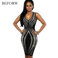 BEFORW Sexy Women Dress Summer Sexy Dress Office Printing Sleeveless Dresses Sexy Slim Tight Nightclub Party