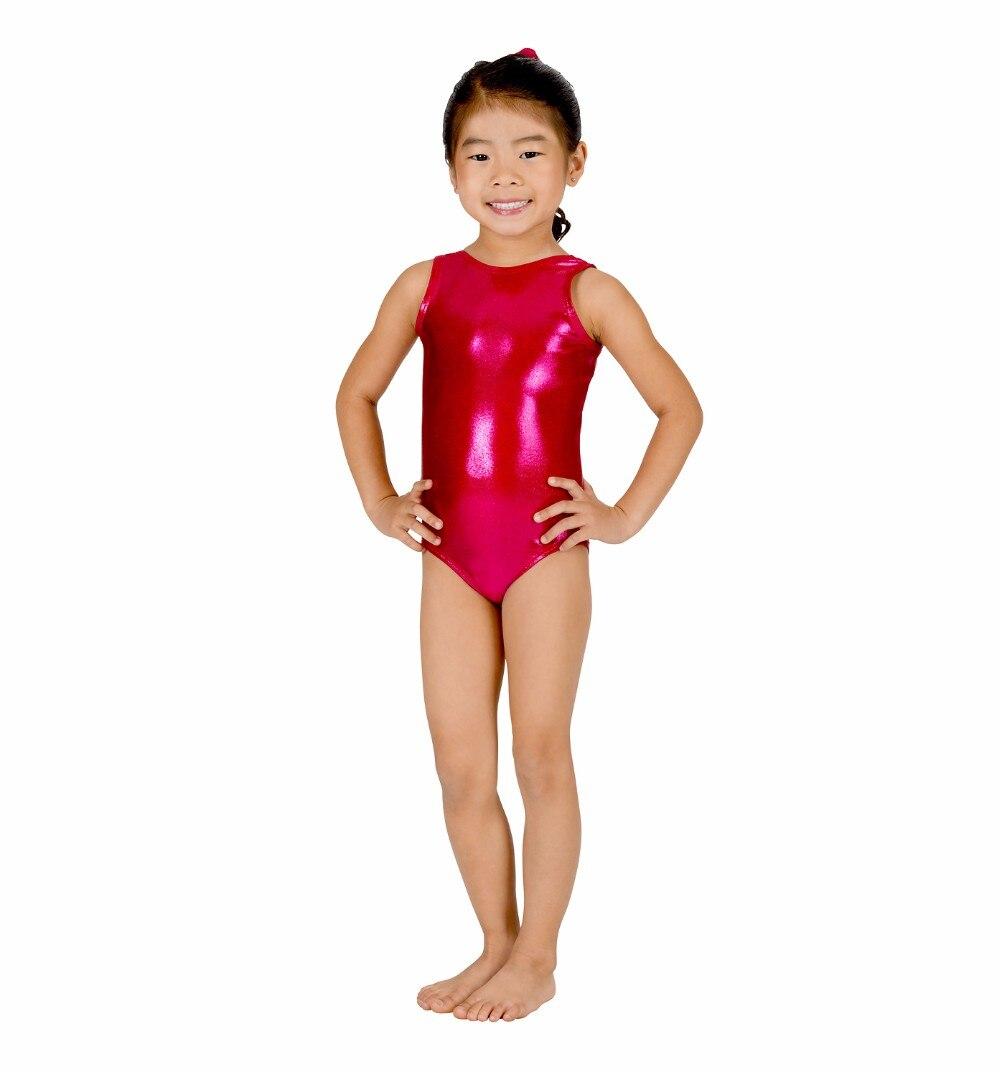 ICOSTUMES Shiny Girls Gymnastics Leotard Child Tank Dance Kids Spandex Metallic Ballet Leotard Toddler Dancewear Wet Look in Ballet from Novelty Special Use