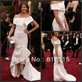Cameron Diaz Mermaid Off-the-shoulder Ruched Sleeveless Court Train Satin White Celebrity Evening Dress