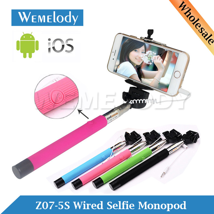 z07 5s cable take pole wired monope mobile phone selfi stick mini mirror self. Black Bedroom Furniture Sets. Home Design Ideas