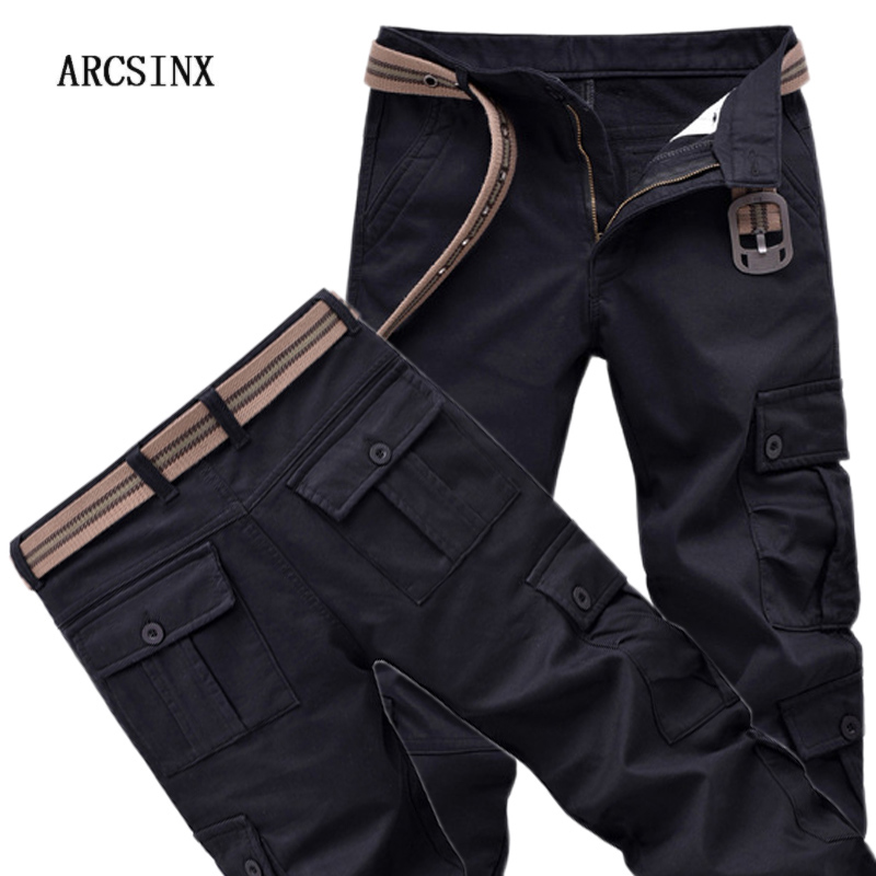 ARCSINX Military Cargo Pants Men Work Wear Casual Winter Pants Men Warm Fleece Men Trousers Black Army Tactical Overalls Male