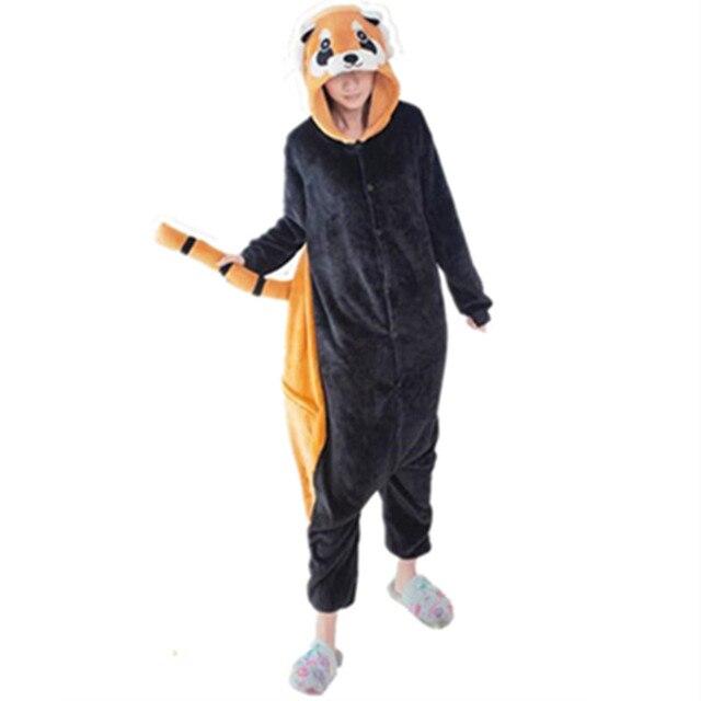 Зимние унисекс Для женщин взрослых Кун пижамы Косплэй костюм мультфильм  животных Комбинезоны енота пижамы Panda  11622fd7900a6