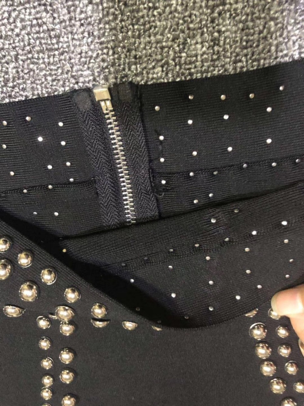 Noir 2 Automne Hiver Robes 2018 Bandage Deux Bonne Pièces Manches Zipper À Solide Longues Celebrity Robe Élégante De Nouveau Qualité Perles YqwFZ